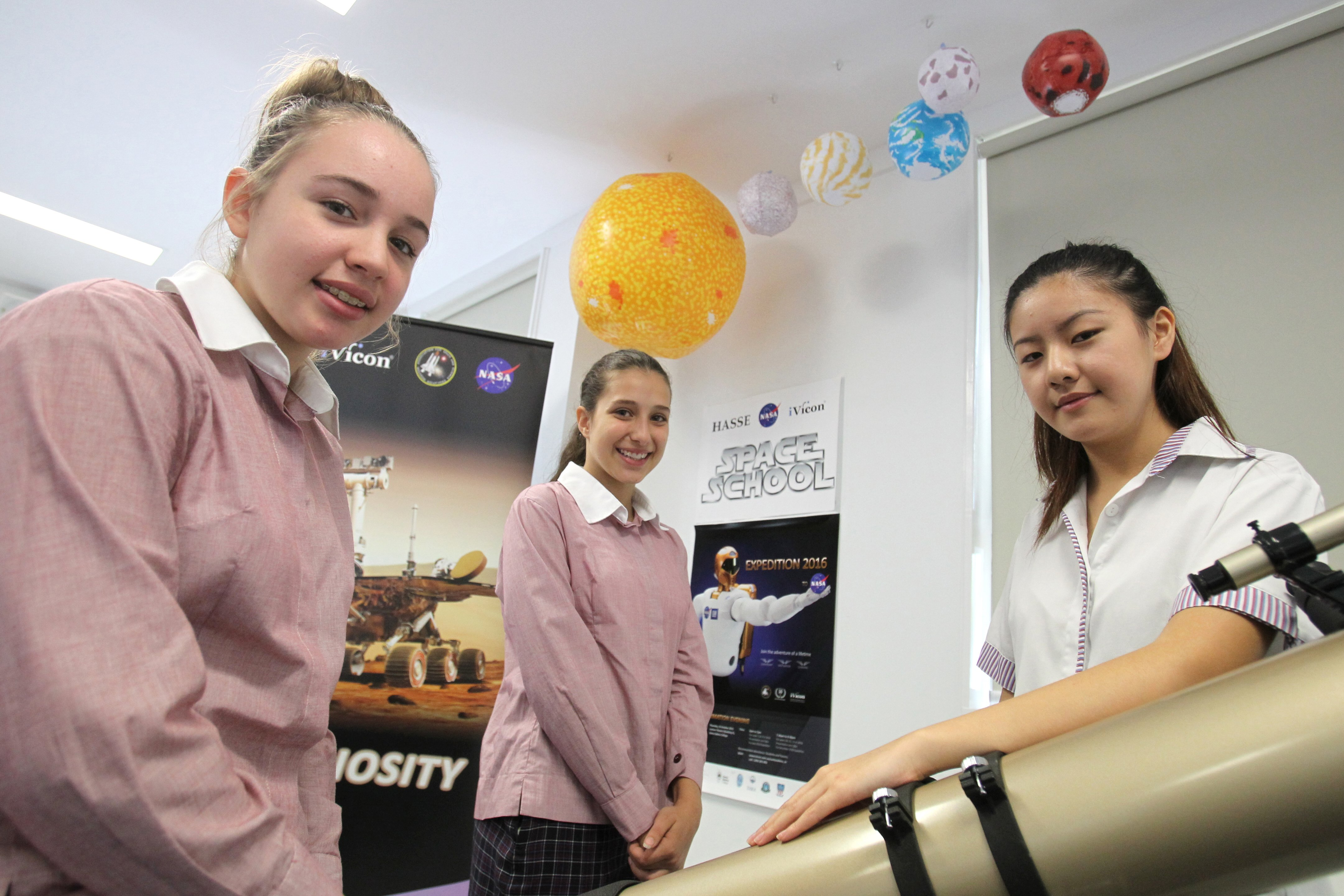 Domremy College Five Dock students Velia Fierro and Simona Noulas will experience the moon's gravitational pull and other simulations used to train astronauts for space missions.
