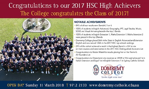 Congratulations to the Class of 2017 on outstanding HSC results.