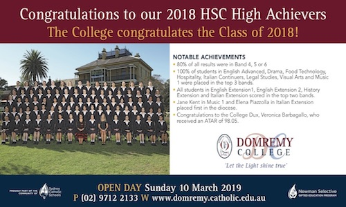 Domremy College congratulates the Class of 2018 on their wonderful academic results in the 2018 Higher School Certificate.
