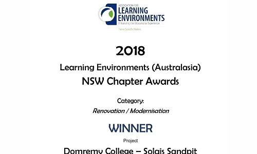 Domremy College is pleased to announce that, together with Hayball Architecture, it was awarded Winner of the Renovation/Modernisation Category in the NSW Association for Learning Environments (Australasia) 2018 NSW Chapter Awards.